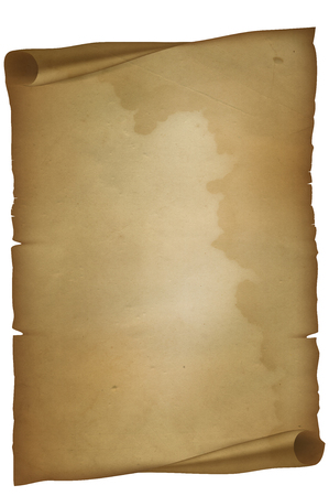 curled: Antique torn parchment with curled corners on white background. Stock Photo