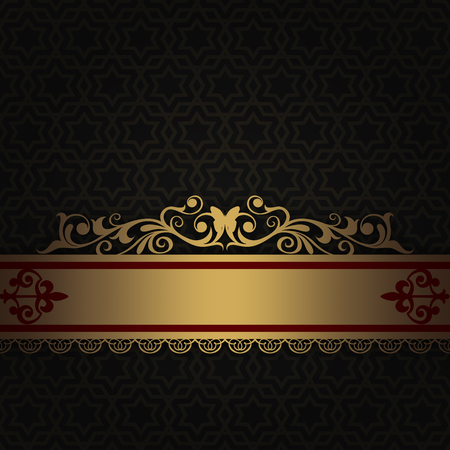 Dark vintage background with old-fashioned ornament and decorative gold border with patterns. Stock Photo