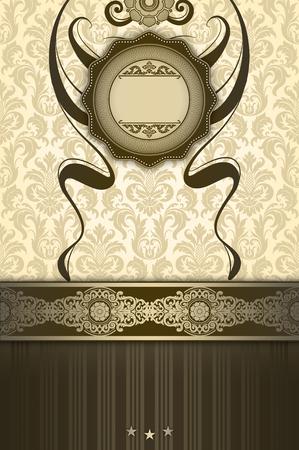 Ornate background with decorative border,elegant frame and old-fashioned floral patterns.