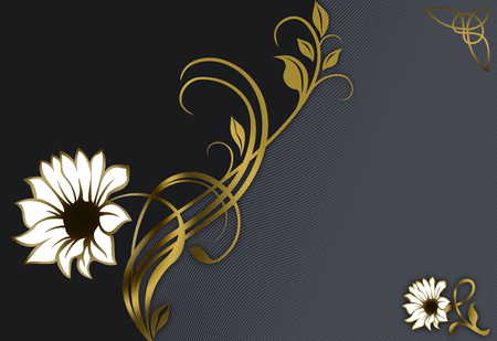 Elegant background with decorative flowers and space for the text. Stock Photo