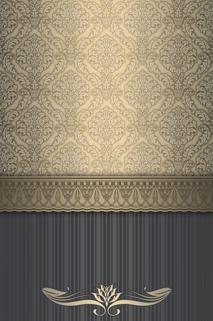 Vintage background with decorative border and old-fashioned elegant patterns.