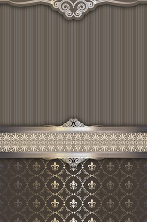 Ornate vintage background with old-fashioned patterns and ornamental border.