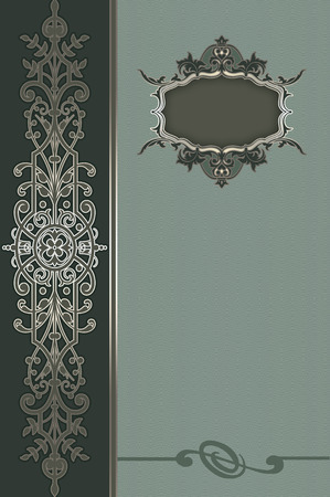 Vintage background with decorative ornamental border and old-fashioned frame.