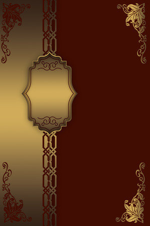 Vintage background with gold frame,decorative border and patterns.