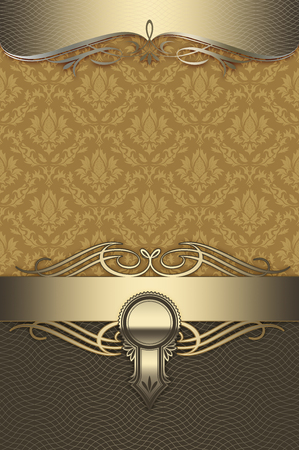 Luxury background with old-fashioned floral ornament and elegant gold borders.
