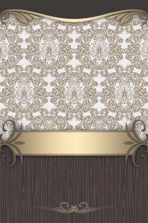 Vintage background with floral patterns and decorative border. Vintage invitation card or book cover design.