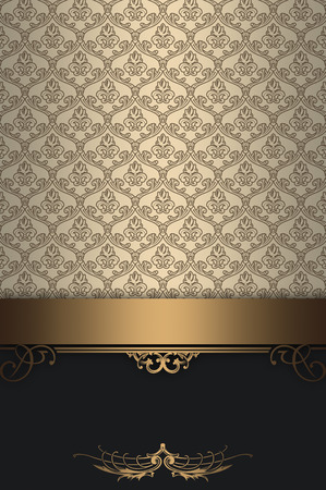 Luxury background with decorative gold border and old-fashioned patterns.