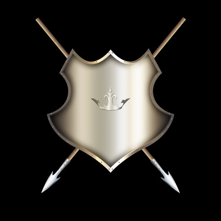 Medieval riveted shield with two spears on black background.