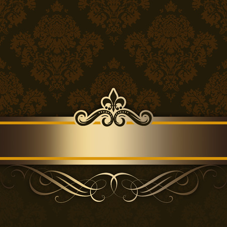 Vintage background with decorative gold border and old-fashioned floral patterns.