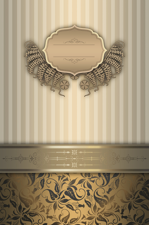 Elegant vintage background with decorative border,frame and old-fashioned patterns. Stock Photo