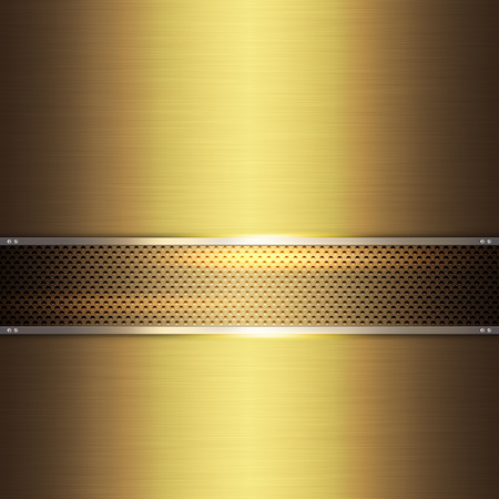 holed: Brushed gold metal background abstract grid with chrome border. Stock Photo