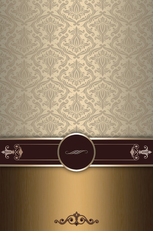 Vintage background with decorative border and old-fashioned patterns. Vintage greeting card or cover-book design.