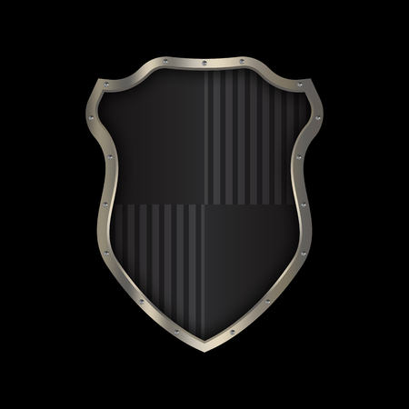 Medieval black shield with chrome riveted border on black background for the design. Stock Photo