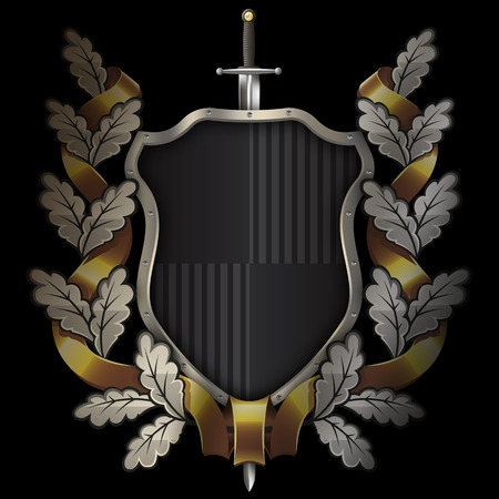 Medieval black shield with chrome riveted border,sword and oak wreath with gold ribbon on black background. Stock Photo