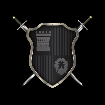 Medieval black shield with chrome riveted border and two swords on black background.