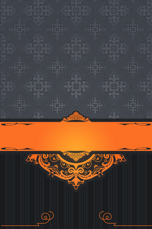 Vintage background with decorative border and old-fashioned patterns. Book cover or vintage card design. Stock Photo