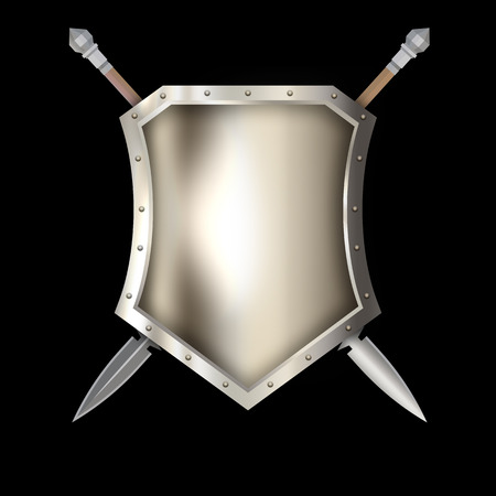 Ancient silver shield with riveted border and spears on black background. Stock Photo
