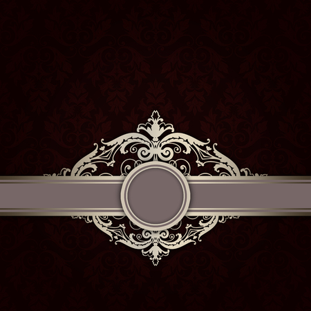Vintage dark background with decorative border,frame and old-fashioned patterns.