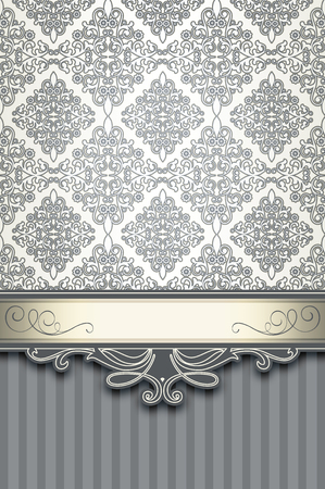 Vintage background with decorative border and old-fashioned patterns.