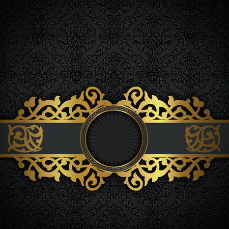 Black vintage background with decorative patterns and golden border.