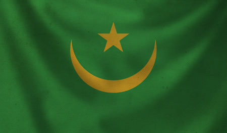 Vintage background with flag of Mauritania. Grunge style. Stock Photo