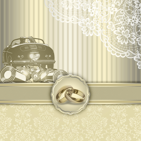 Wedding background with decorative elemant and golden rings. Wedding invitation card design. Stock Photo