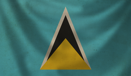 aging: Vintage background with flag of Saint Lucia. Grunge style. Stock Photo
