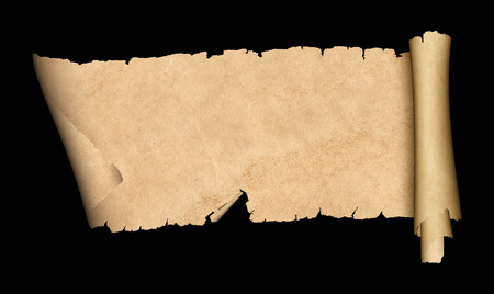 Antique scroll of parchment with torn edges. Isolated on black background. Stock Photo - 76322324