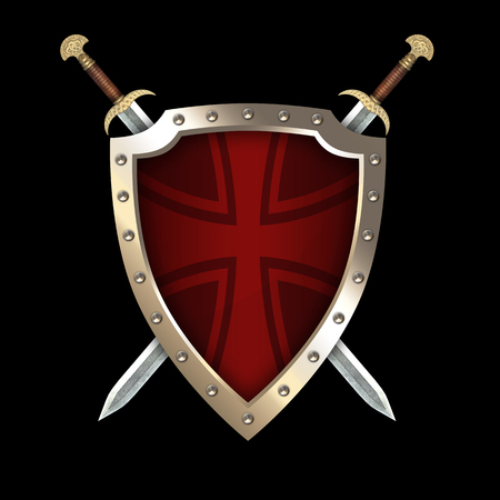 Red medieval shield with two swords and maltese cross on black background.