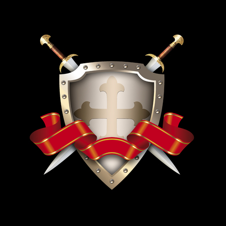 rivets: Medieval shield with two swords,cross and red ribbon on black background.