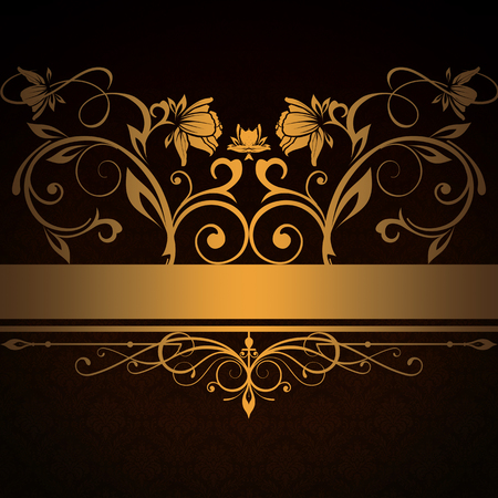 Dark vintage background with decorative ornament and golden floral patterns. Stock Photo