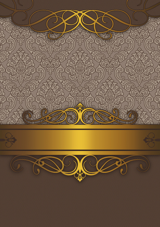 Luxury background with vintage patterns and golden border.