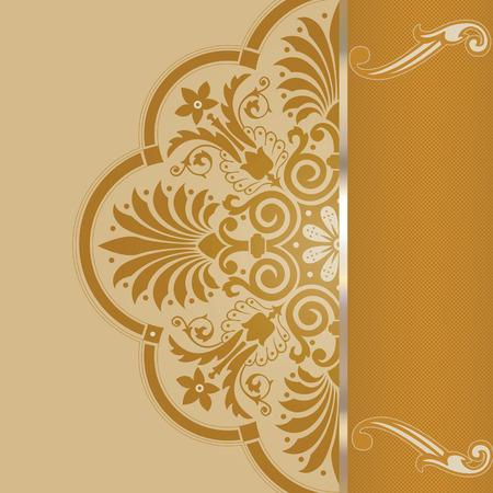 Elegant background with vintage patterns and decorative border. Invitation card design. Stock Photo