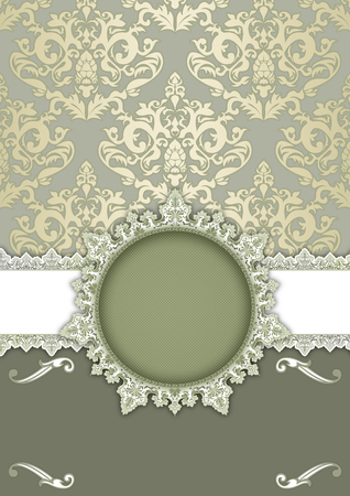Decorative vintage background with elegant frame and patterns. Stock Photo