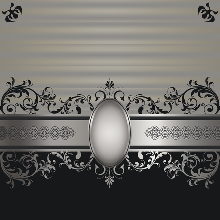 Vintage silver background with decorative frame,border and patterns. Stock Photo