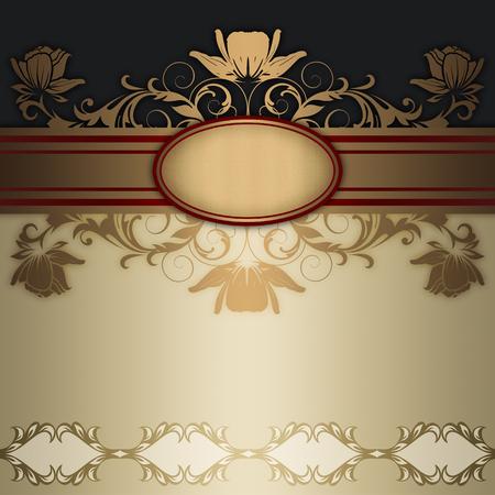 Decorative vintage background with elegant frame,border and floral patterns.