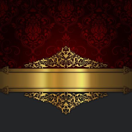 Decorative vintage background with elegant golden border and patterns. Vintage invitation card design.