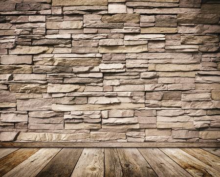 Mur de pierre et vieux plancher en bois avec un fond. fond Banque d'images - 90376867
