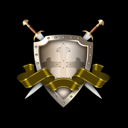 Medieval shield with two swords and golden ribbon on black background.