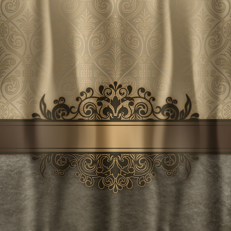 Vintage background with decorative old-fashioned patterns and elegant border.