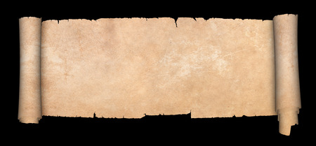 Old parchment scroll on black background.