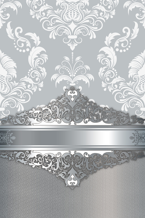 Old-fashioned background with decorative silver border and elegant floral ornament. Stock Photo