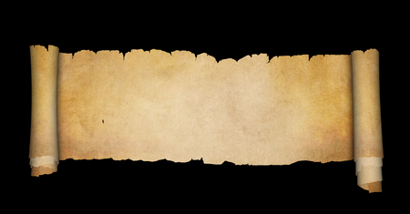 Scroll of antique parchment with torn edges. Isolated on black background.