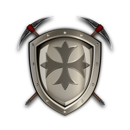 Ancient shield with riveted border and two picks on white background. Stock Photo