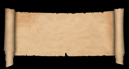 Antique parchment scroll with torn edges on black background. Stock fotó