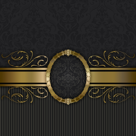 Black and gold vintage background with decorative patterns and frame.