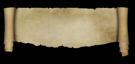Scroll of ancient parchment with torn edges and two rolls. Isolated on black background.