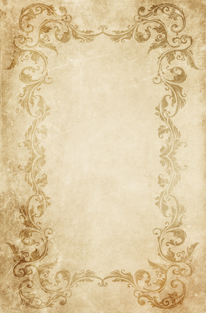 Grunge yellowed paper with decorative vintage frame. Vintage paper texture. Decorative old-fashioned border with space for text.