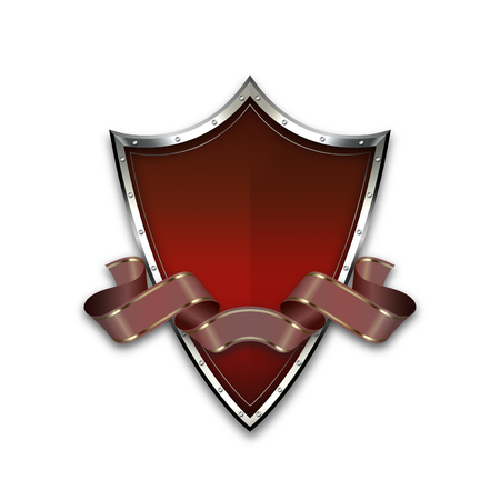 Red medieval shield with riveted border and ribbon on white background.