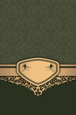 Decorative vintage background with golden frame and elegant patterns. Фото со стока